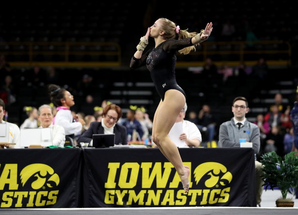 Iowa's Lauren Guerin competes on the floor against Michigan Friday, February 14, 2020 at Carver-Hawkeye Arena. (Brian Ray/hawkeyesports.com)