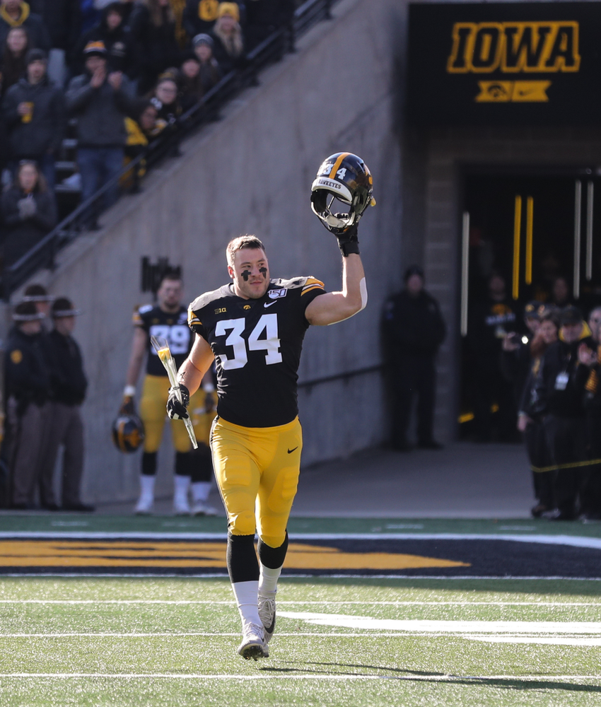 Iowa Hawkeyes linebacker Kristian Welch (34) during Senior Day festivities before their game against the Illinois Fighting Illini Saturday, November 23, 2019 at Kinnick Stadium. (Brian Ray/hawkeyesports.com)