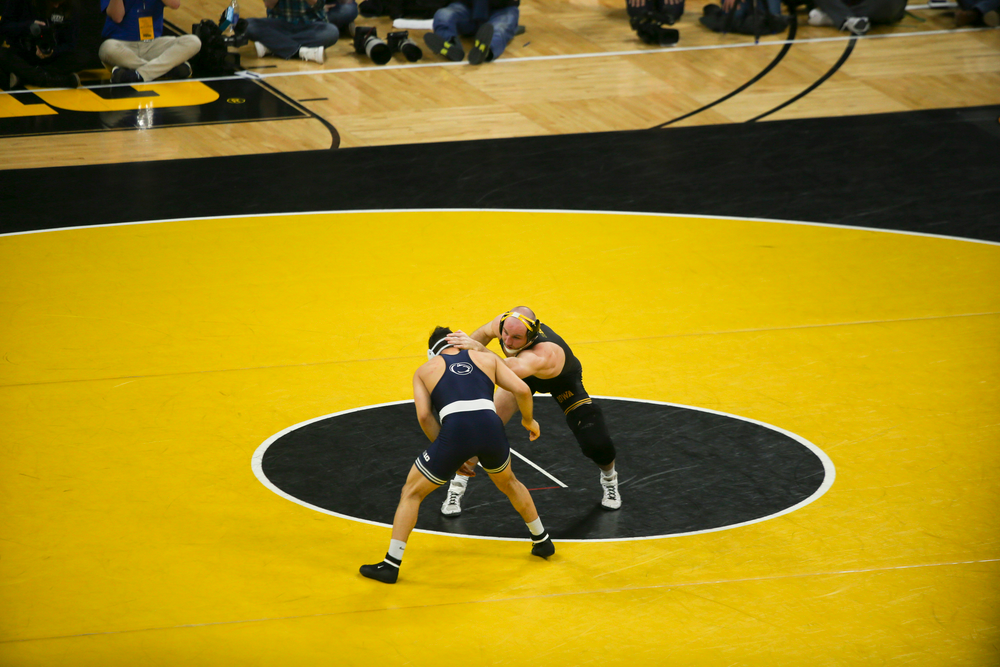 Iowa's Alex Marinelli wrestles Penn State's Vincenzo Joseph during their 165 lbs match during the Iowa wrestling dual vs Penn State on Friday, January 31, 2020 at Carver-Hawkeye Arena. (Lily Smith/hawkeyesports.com)
