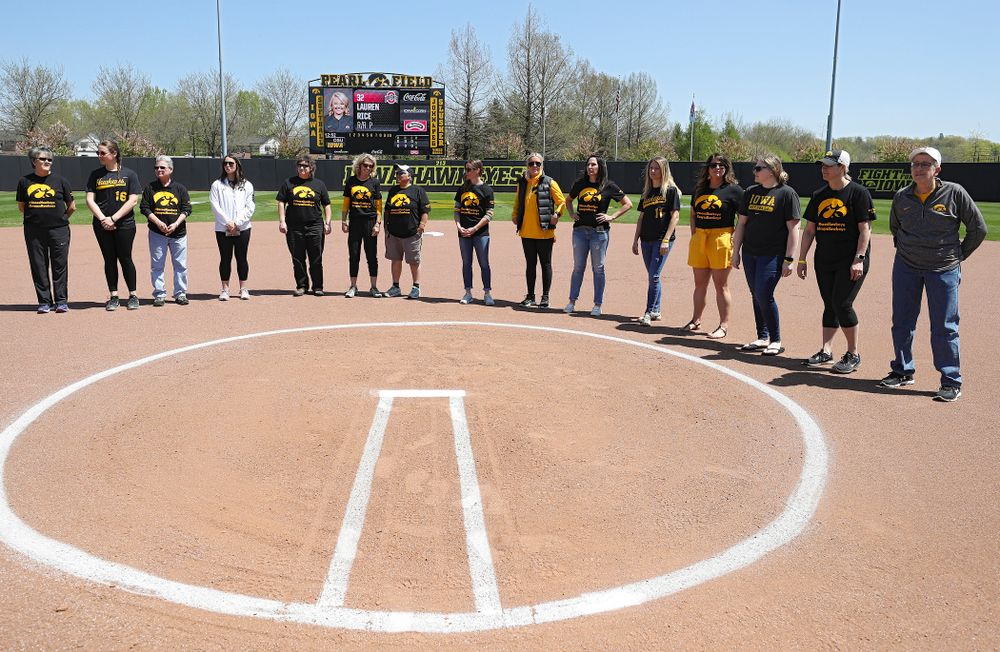 Former Iowa Hawkeyes players are recognized before the game against Ohio State at Pearl Field in Iowa City on Saturday, May. 4, 2019. (Stephen Mally/hawkeyesports.com)