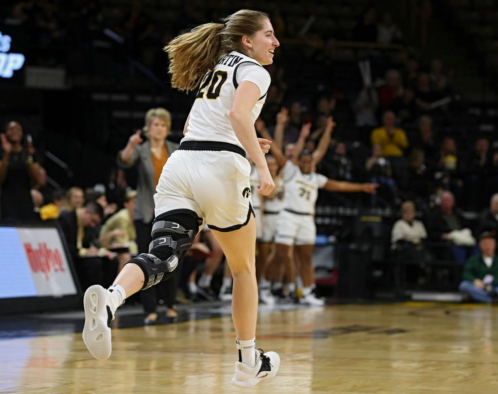 Iowa Hawkeyes guard Kate Martin (20) runs down the court after making a 3-pointer during the second quarter of the game at Carver-Hawkeye Arena in Iowa City on Thursday, February 6, 2020. (Stephen Mally/hawkeyesports.com)