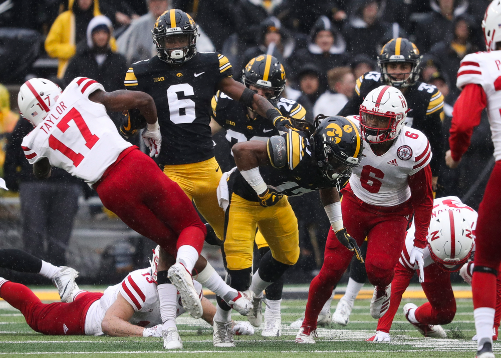 Iowa Hawkeyes wide receiver Ihmir Smith-Marsette (6) returns a kickoff during a game against Nebraska at Kinnick Stadium on November 23, 2018. (Tork Mason/hawkeyesports.com)