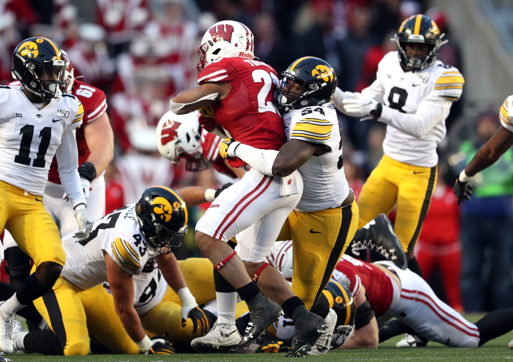 Iowa Hawkeyes defensive tackle Daviyon Nixon (54) against the Wisconsin Badgers Saturday, November 9, 2019 at Camp Randall Stadium in Madison, Wisc. (Brian Ray/hawkeyesports.com)