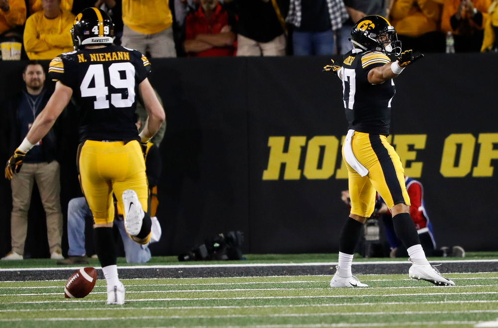 Iowa Hawkeyes defensive back Amani Hooker (27) reacts after breaking up a pass during a game against Wisconsin at Kinnick Stadium on September 22, 2018. (Tork Mason/hawkeyesports.com)