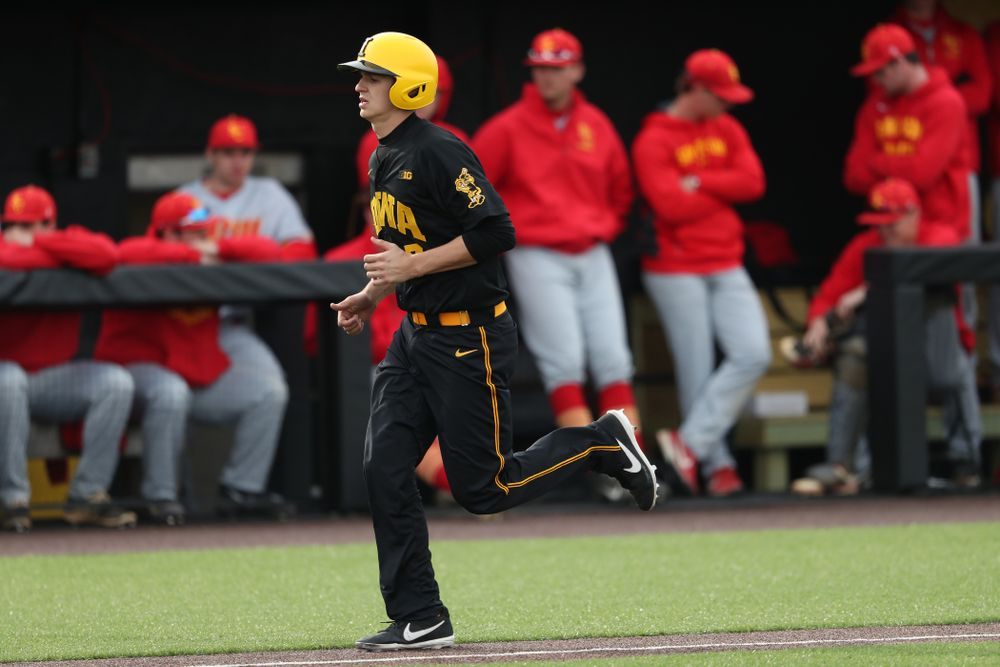 Iowa Hawkeyes Grant Judkins (7) against Simpson College Tuesday, March 19, 2019 at Duane Banks Field. (Brian Ray/hawkeyesports.com)
