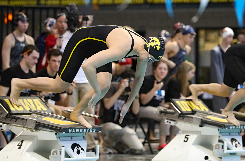 Iowa's Madilyn Ziegert swims in the women's 100 yard freestyle preliminary event during the 2020 Women's Big Ten Swimming and Diving Championships at the Campus Recreation and Wellness Center in Iowa City on Saturday, February 22, 2020. (Stephen Mally/hawkeyesports.com)