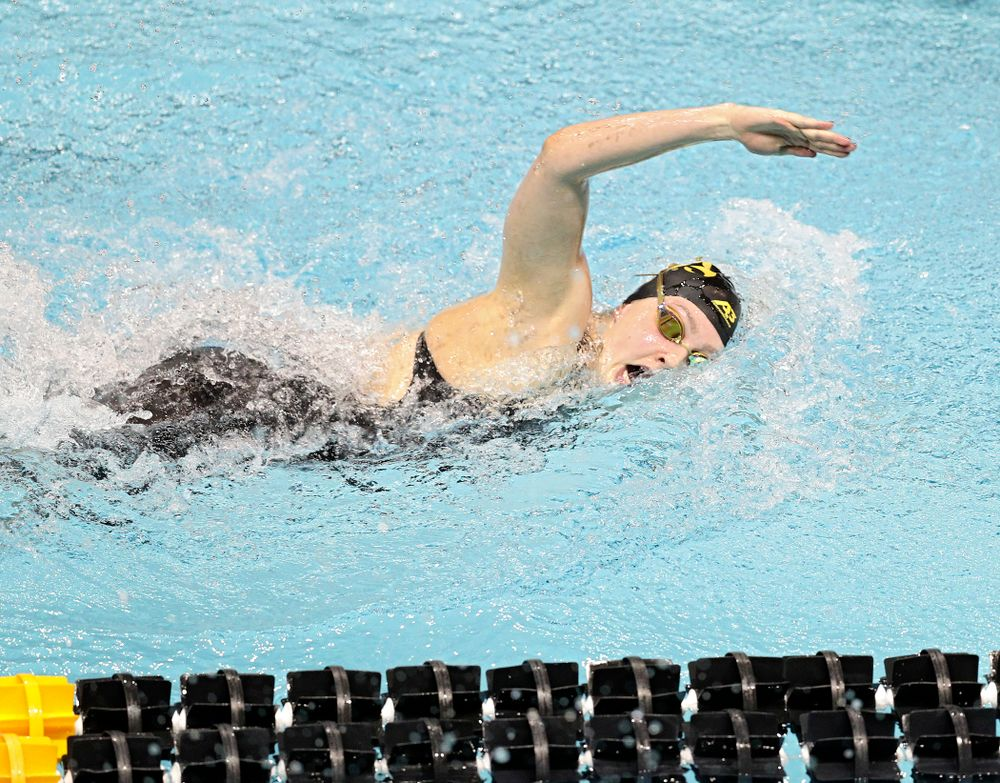 Iowa's Emilia Sansome swims the 800 yard freestyle relay event during the 2020 Big Ten Women's Swimming and Diving Championships at the Campus Recreation and Wellness Center in Iowa City on Wednesday, February 19, 2020. (Stephen Mally/hawkeyesports.com)