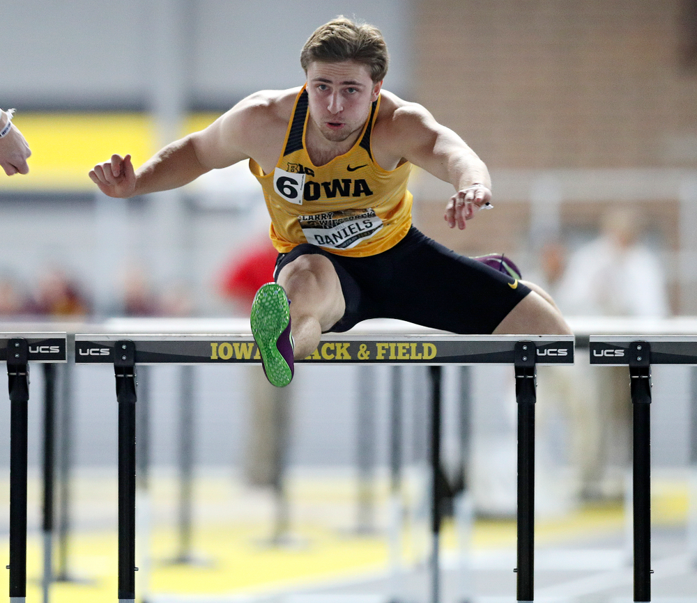 Iowa's Will Daniels runs the men's 60 meter hurdles premier preliminary event during the Larry Wieczorek Invitational at the Recreation Building in Iowa City on Saturday, January 18, 2020. (Stephen Mally/hawkeyesports.com)