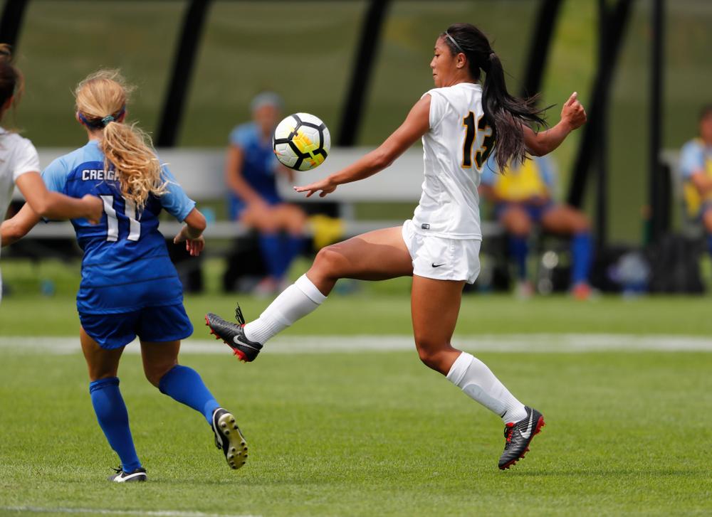 Iowa Hawkeyes Bianca Acuario (13) against the Creighton Bluejays  Sunday, August 19, 2018 at the Iowa Soccer Complex. (Brian Ray/hawkeyesports.com)
