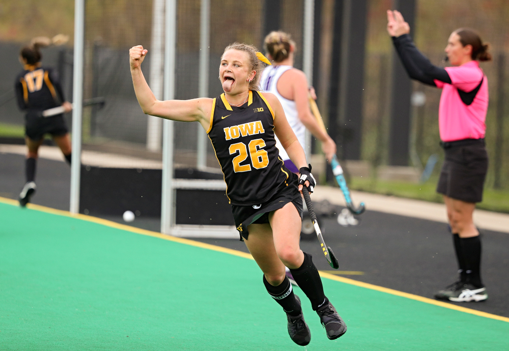Iowa's Maddy Murphy (26) celebrates after scoring a goal during the fourth quarter of their game at Grant Field in Iowa City on Saturday, Oct 26, 2019. (Stephen Mally/hawkeyesports.com)