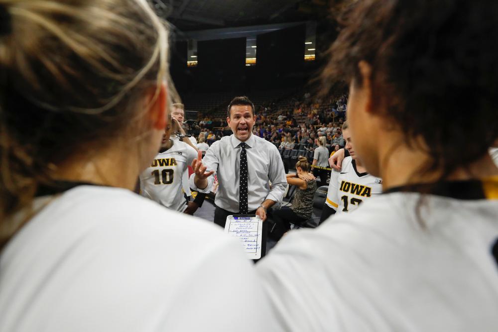 Iowa Hawkeyes head coach Bond Shymansky against Eastern Illinois Sunday, September 9, 2018 at Carver-Hawkeye Arena. (Brian Ray/hawkeyesports.com)