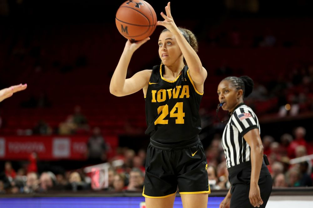 Iowa Hawkeyes guard Gabbie Marshall (24) against the Maryland Terrapins Thursday, February 13, 2020 at the Xfinity Center in College Park, MD. (Brian Ray/hawkeyesports.com)