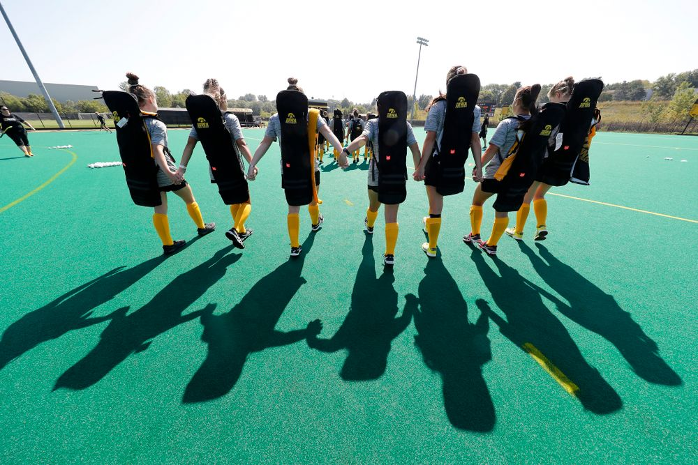 The Iowa Hawkeyes cross the line before their game  against Indiana Sunday, September 16, 2018 at Grant Field. (Brian Ray/hawkeyesports.com)