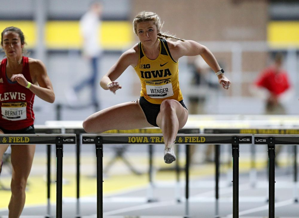 Iowa's Sydney Winger competes in the women's 60 meter hurdles prelims event during the Jimmy Grant Invitational at the Recreation Building in Iowa City on Saturday, December 14, 2019. (Stephen Mally/hawkeyesports.com)