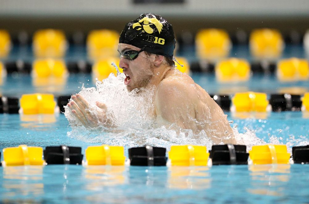 Iowa's Weston Credit swims the breaststroke section in the men's 400 yard medley relay event during their meet at the Campus Recreation and Wellness Center in Iowa City on Friday, February 7, 2020. (Stephen Mally/hawkeyesports.com)