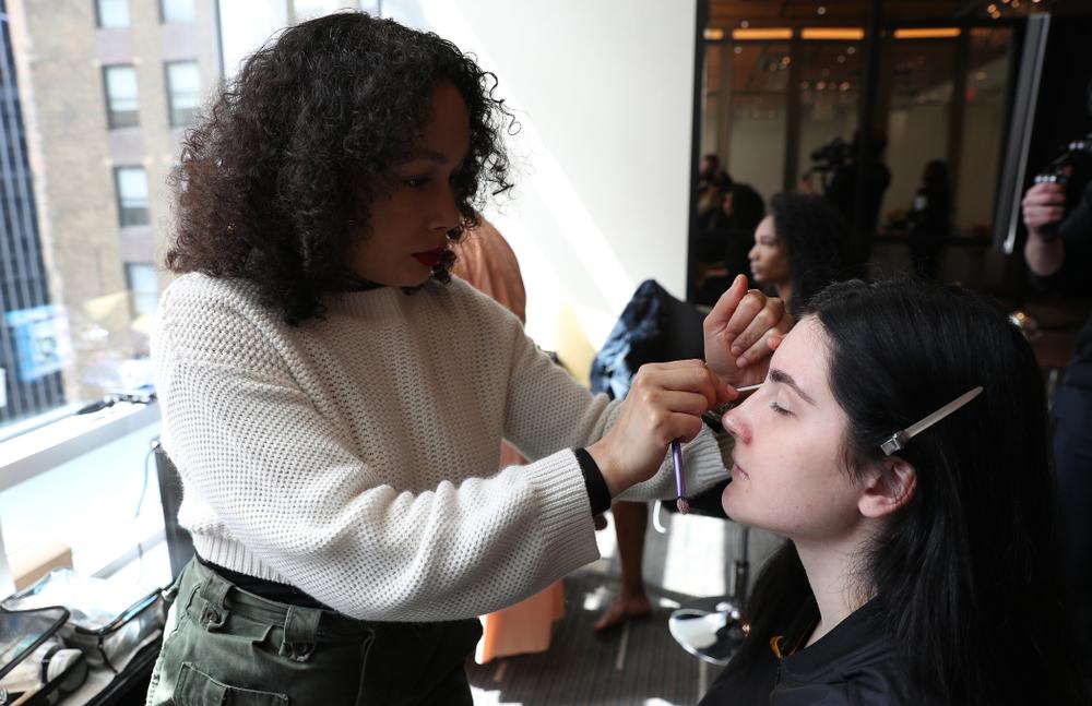 Iowa Hawkeyes forward Megan Gustafson (10) has her makeup professionally done before the 2019 WNBA Draft Wednesday, April 10, 2019 at Nike New York Headquarters in New York City. (Brian Ray/hawkeyesports.com)