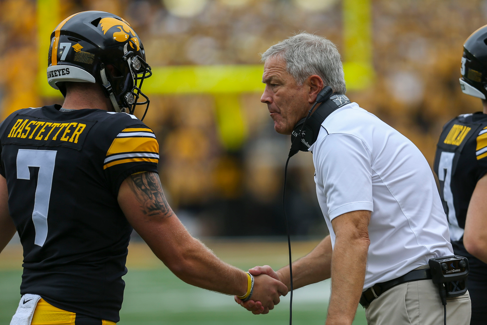 Iowa Hawkeyes punter Colten Rastetter (7) and Iowa Hawkeyes head coach Kirk Ferentz against Middle Tennessee Saturday, September 28, 2019 at Kinnick Stadium. (Lily Smith/hawkeyesports.com)
