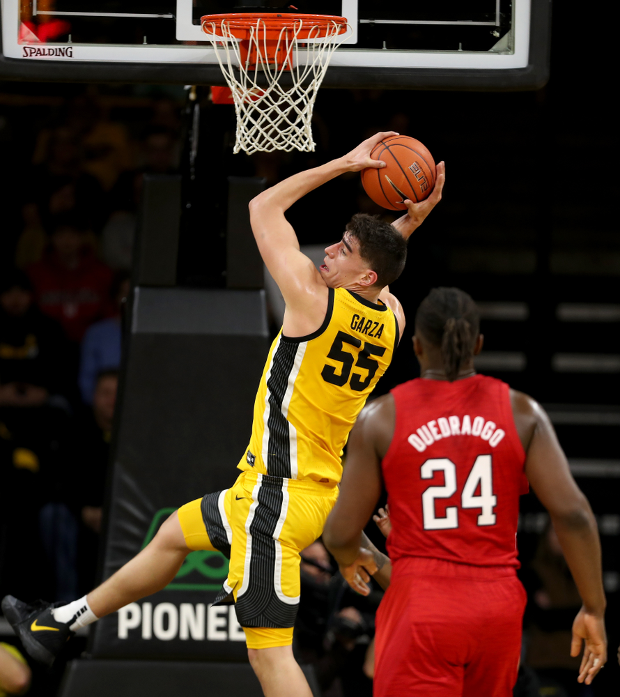Iowa Hawkeyes forward Luka Garza (55) against the Nebraska Cornhuskers Saturday, February 8, 2020 at Carver-Hawkeye Arena. (Brian Ray/hawkeyesports.com)