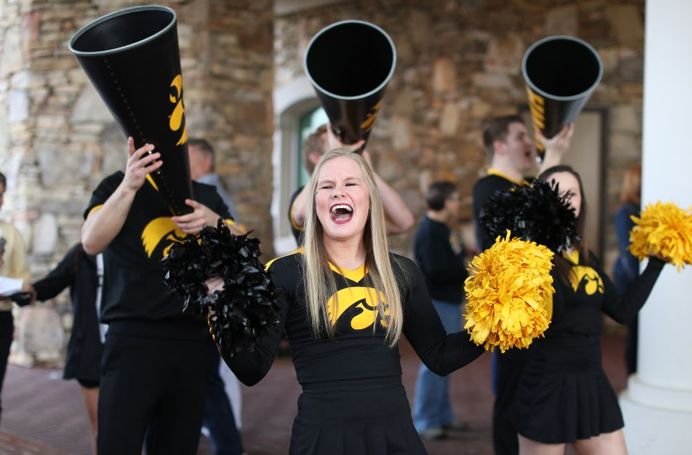 The Iowa Cheerleaders during a send off at the hotel before their game against the NC State Wolfpack in the regional semi-final of the 2019 NCAA Women's College Basketball Tournament Saturday, March 30, 2019 at Greensboro Coliseum in Greensboro, NC.(Brian Ray/hawkeyesports.com)
