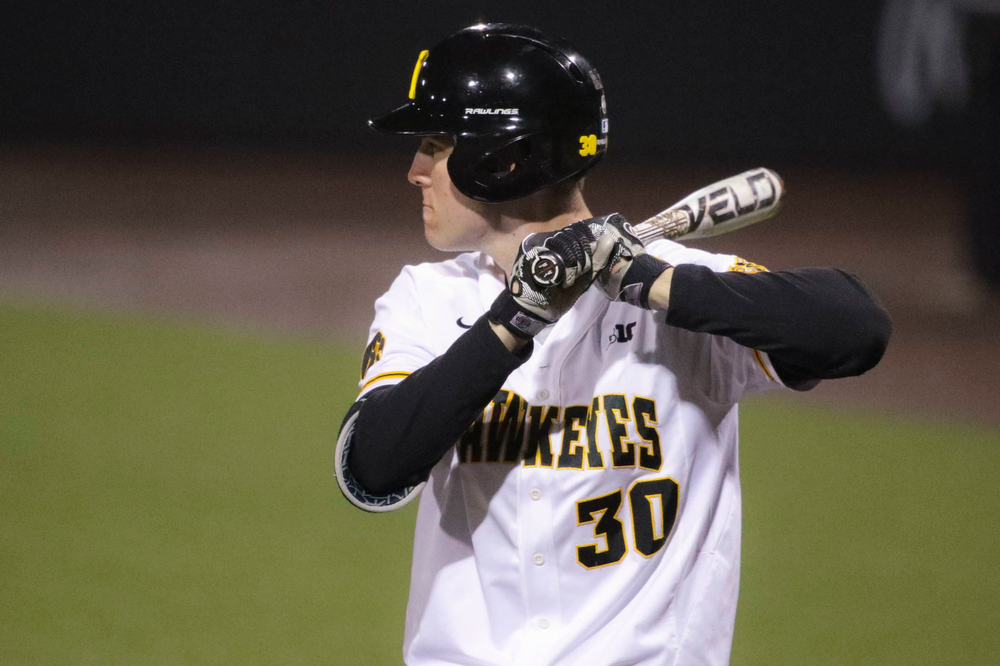 Iowa outfielder Connor McCaffery at game 1 vs Rutgers on Friday, April 5, 2019 at Duane Banks Field. (Lily Smith/hawkeyesports.com)