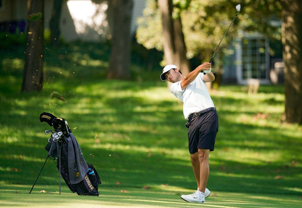 Iowa's Joe Kim hits from the fairway during the second day of the Golfweek Conference Challenge at the Cedar Rapids Country Club in Cedar Rapids on Monday, Sep 16, 2019. (Stephen Mally/hawkeyesports.com)