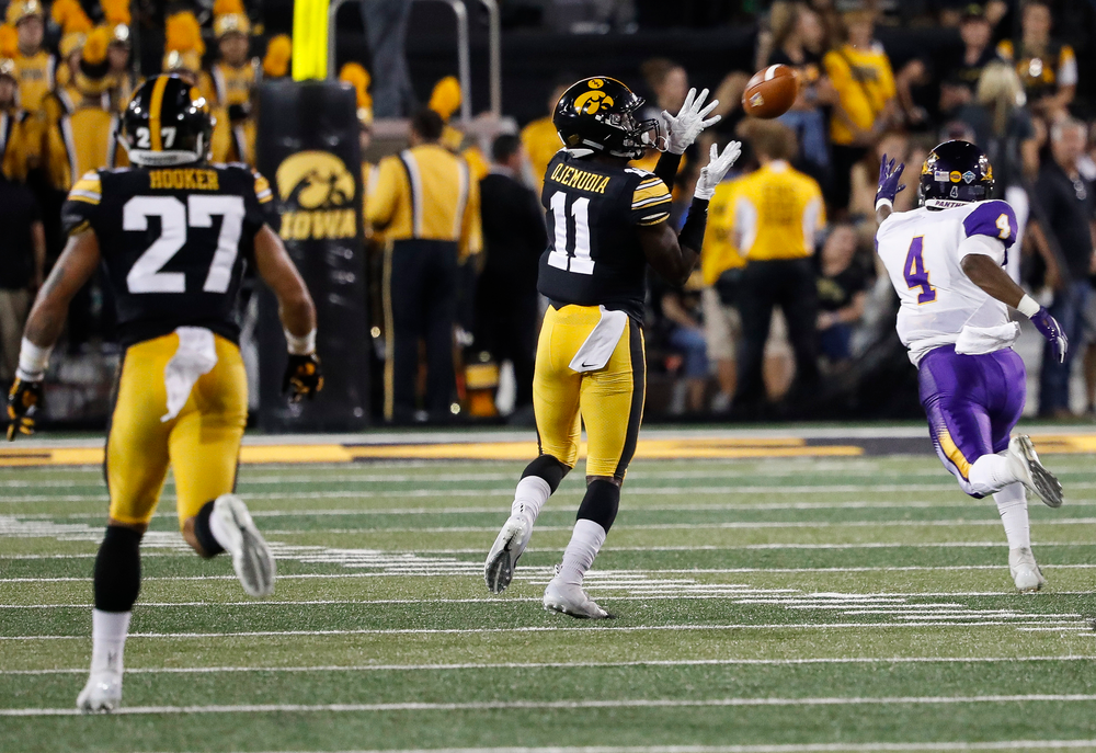 Iowa Hawkeyes defensive back Michael Ojemudia (11) intercepts a pass during a game against Northern Iowa at Kinnick Stadium on September 15, 2018. (Tork Mason/hawkeyesports.com)