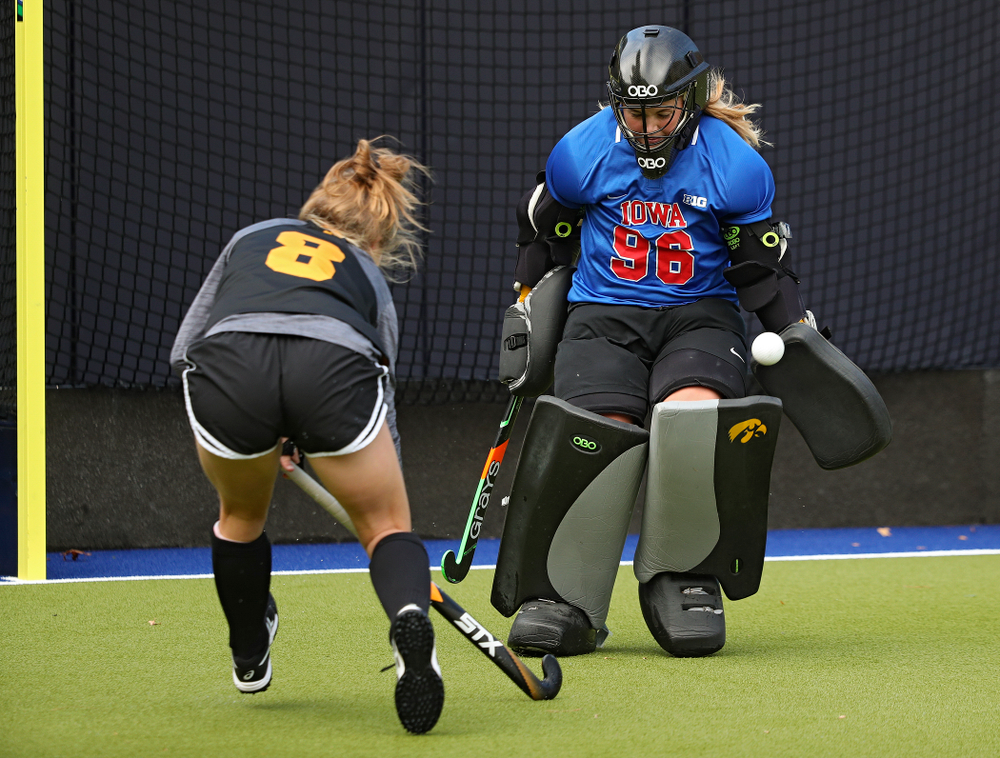Iowa's Leslie Speight (96) blocks a shot by Nikki Freeman (8) during their practice at Karen Shelton Stadium in Chapel Hill, N.C. on Saturday, Nov 16, 2019. (Stephen Mally/hawkeyesports.com)