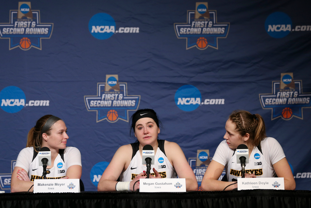 Iowa Hawkeyes guard Makenzie Meyer (3), center Megan Gustafson (10), and guard Kathleen Doyle (22) during a press conference after winning their second round game in the 2019 NCAA Women's Basketball Tournament at Carver Hawkeye Arena in Iowa City on Sunday, Mar. 24, 2019. (Stephen Mally for hawkeyesports.com)