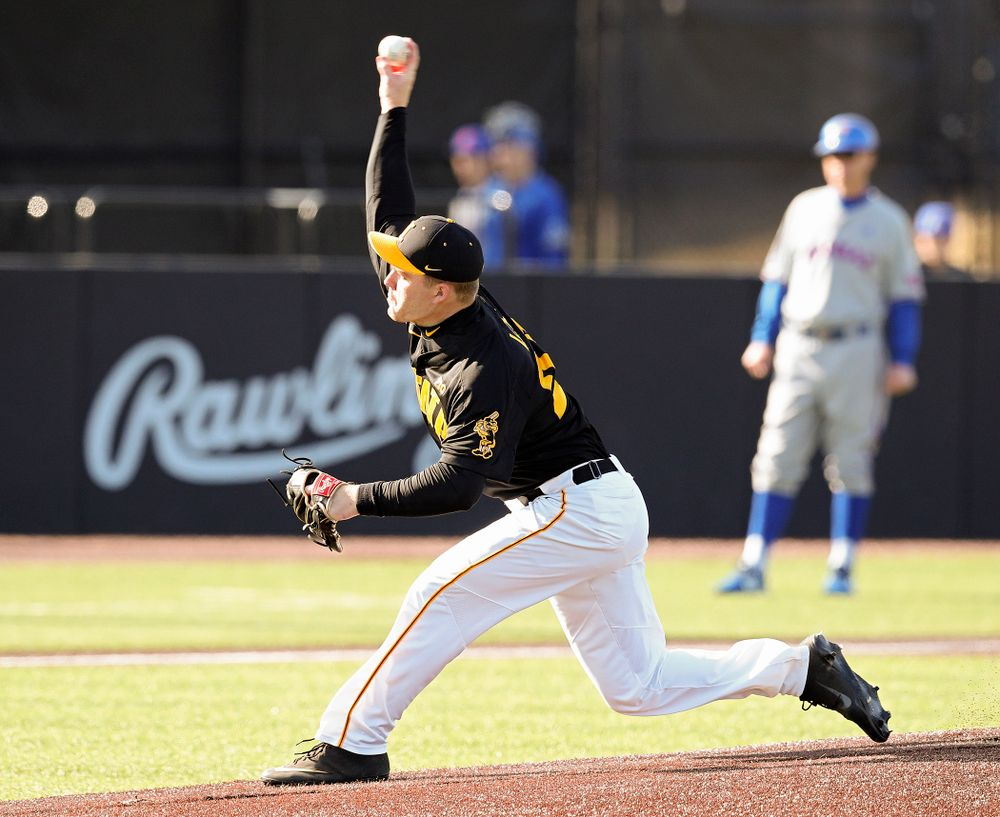 Iowa pitcher Hunter Lee (24) delivers to the plate during the first inning of their college baseball game at Duane Banks Field in Iowa City on Tuesday, March 10, 2020. (Stephen Mally/hawkeyesports.com)