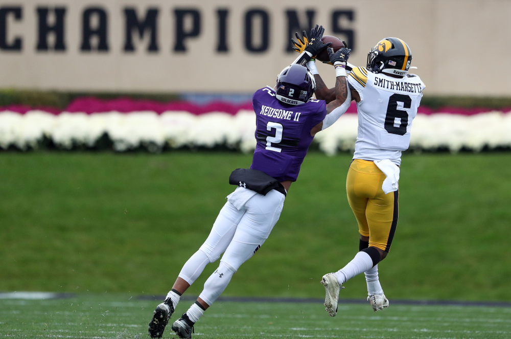 Iowa Hawkeyes wide receiver Ihmir Smith-Marsette (6) against the Northwestern Wildcats Saturday, October 26, 2019 at Ryan Field in Evanston, Ill. (Brian Ray/hawkeyesports.com)