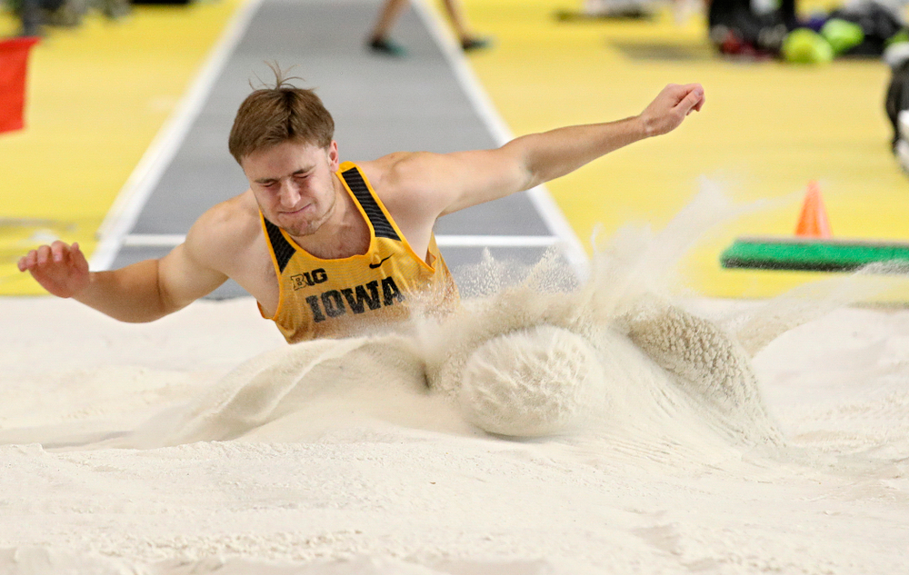 Iowa's Will Daniels competes in the men's long jump event during the Jimmy Grant Invitational at the Recreation Building in Iowa City on Saturday, December 14, 2019. (Stephen Mally/hawkeyesports.com)