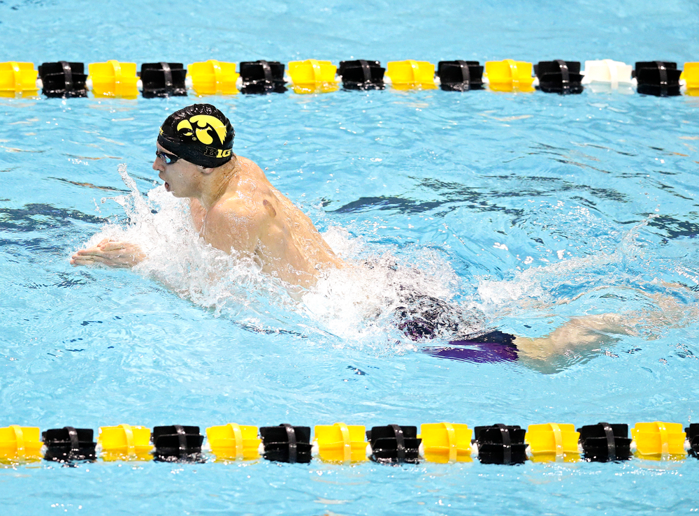 Iowa's Aleksey Tarasenko swims the men's 100 yard individual medley event during their meet at the Campus Recreation and Wellness Center in Iowa City on Friday, February 7, 2020. (Stephen Mally/hawkeyesports.com)