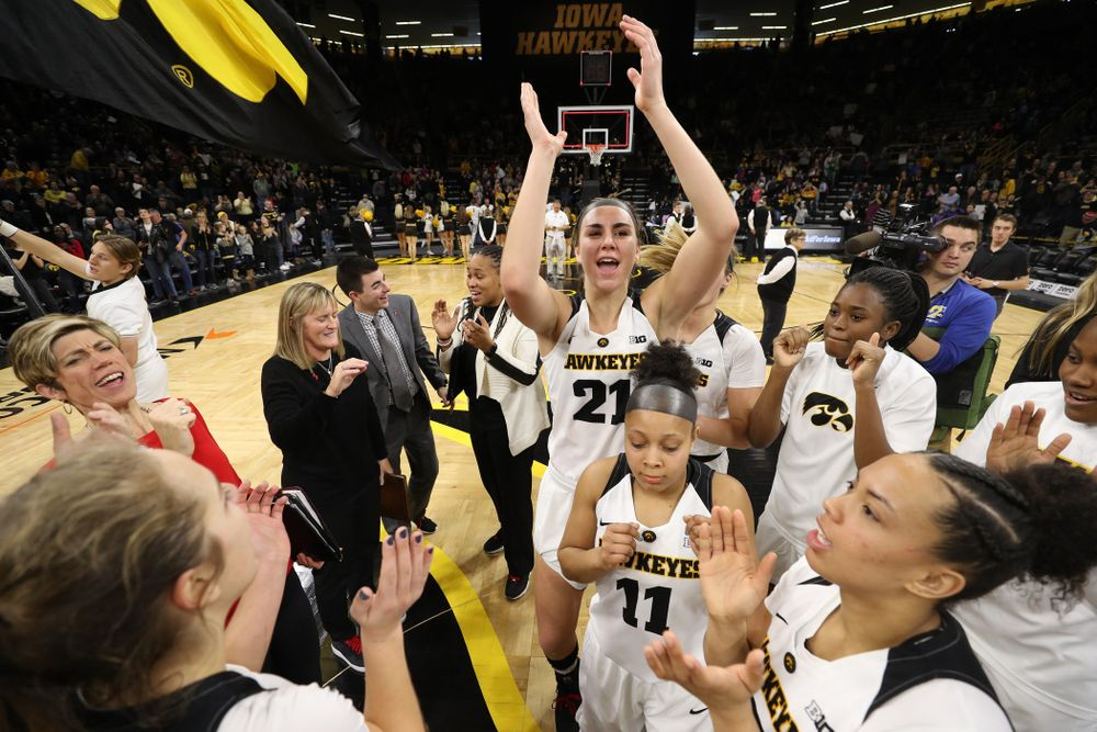 Iowa Hawkeyes forward Hannah Stewart (21) celebrates their win against the Purdue Boilermakers Sunday, January 27, 2019 at Carver-Hawkeye Arena. (Brian Ray/hawkeyesports.com)