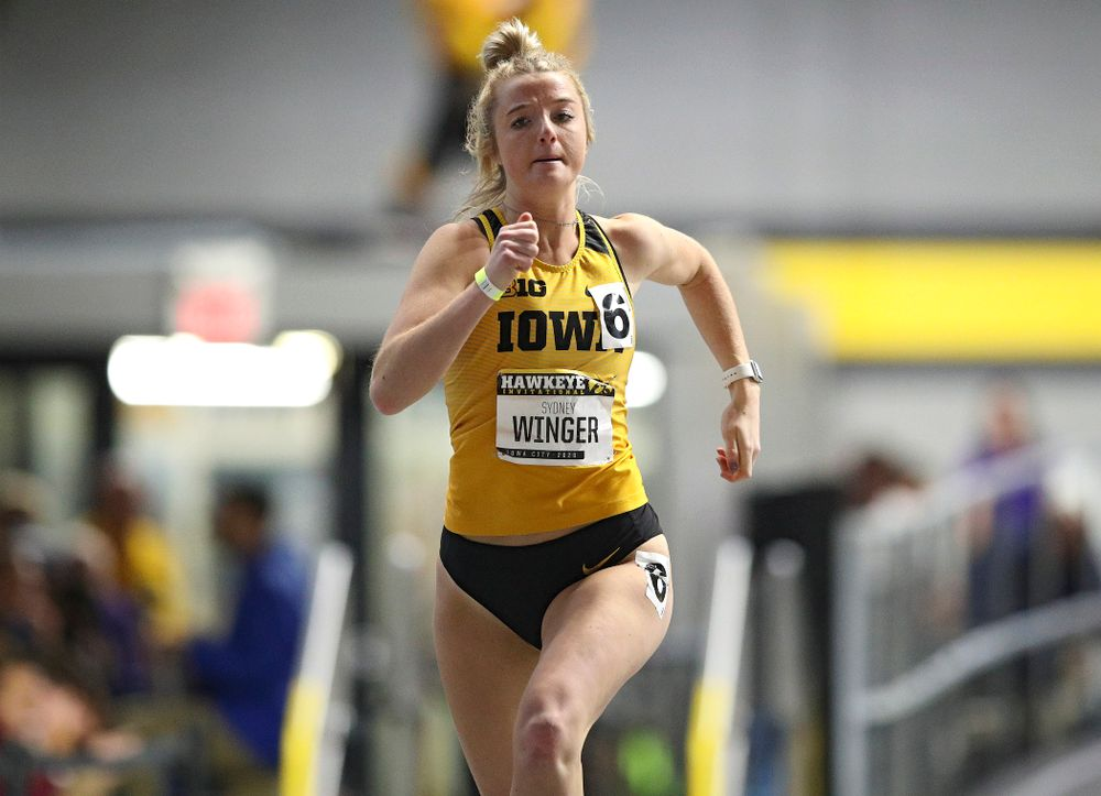 Iowa's Sydney Winger runs the women's 200 meter dash event during the Hawkeye Invitational at the Recreation Building in Iowa City on Saturday, January 11, 2020. (Stephen Mally/hawkeyesports.com)