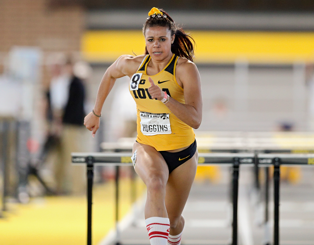 Iowa's Dallyssa Huggins runs the women's 60 meter hurdles event at the Black and Gold Invite at the Recreation Building in Iowa City on Saturday, February 1, 2020. (Stephen Mally/hawkeyesports.com)
