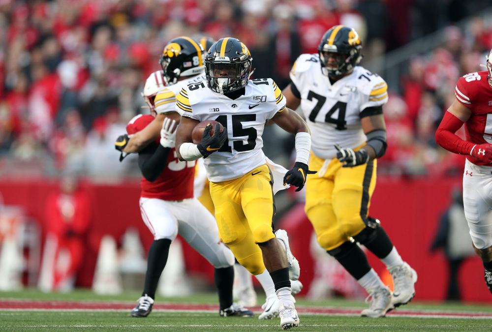 Iowa Hawkeyes running back Tyler Goodson (15) against the Wisconsin Badgers Saturday, November 9, 2019 at Camp Randall Stadium in Madison, Wisc. (Brian Ray/hawkeyesports.com)