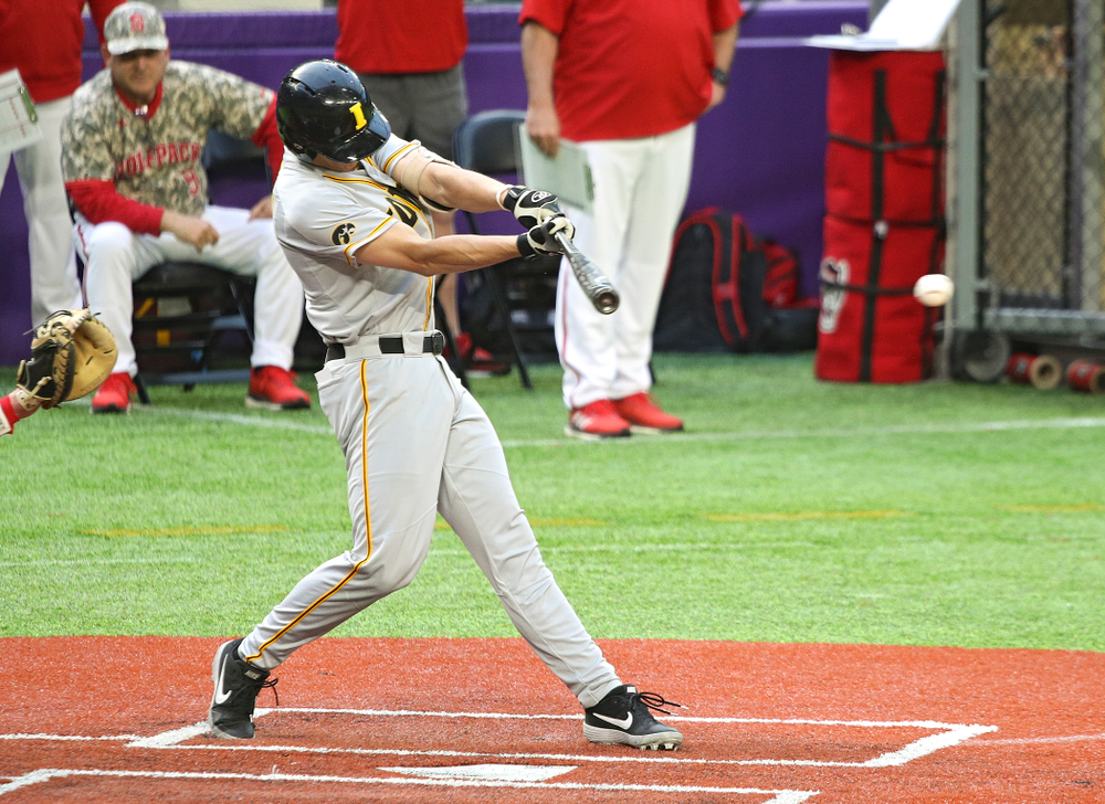 Iowa Hawkeyes infielder Dylan Nedved (17) bats during the ninth inning of their CambriaCollegeClassic game at U.S. Bank Stadium in Minneapolis, Minn. on Friday, February 28, 2020. (Stephen Mally/hawkeyesports.com)