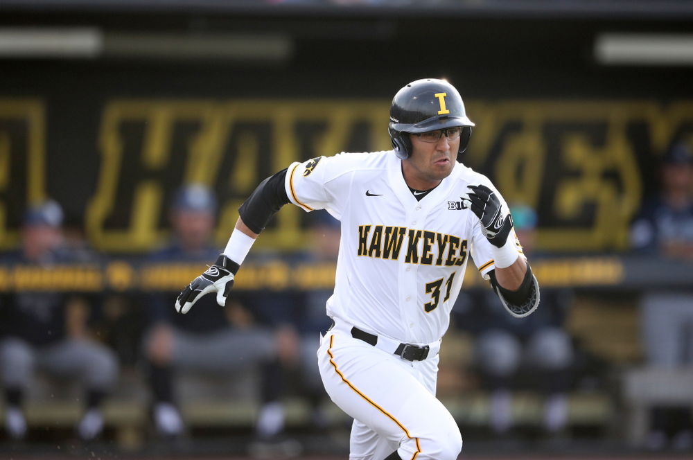 Iowa Hawkeyes infielder Matthew Sosa (31) during game one against UC Irvine Friday, May 3, 2019 at Duane Banks Field. (Brian Ray/hawkeyesports.com)