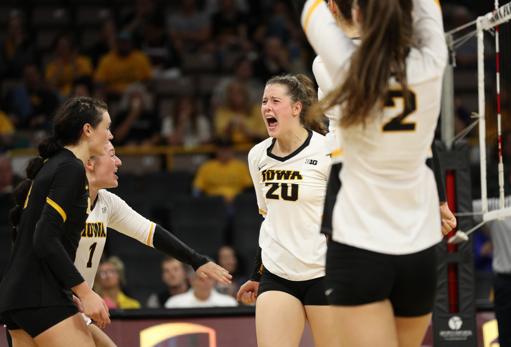 Iowa Hawkeyes outside hitter Edina Schmidt (20) against the Minnesota Golden Gophers Wednesday, October 2, 2019 at Carver-Hawkeye Arena. (Brian Ray/hawkeyesports.com)