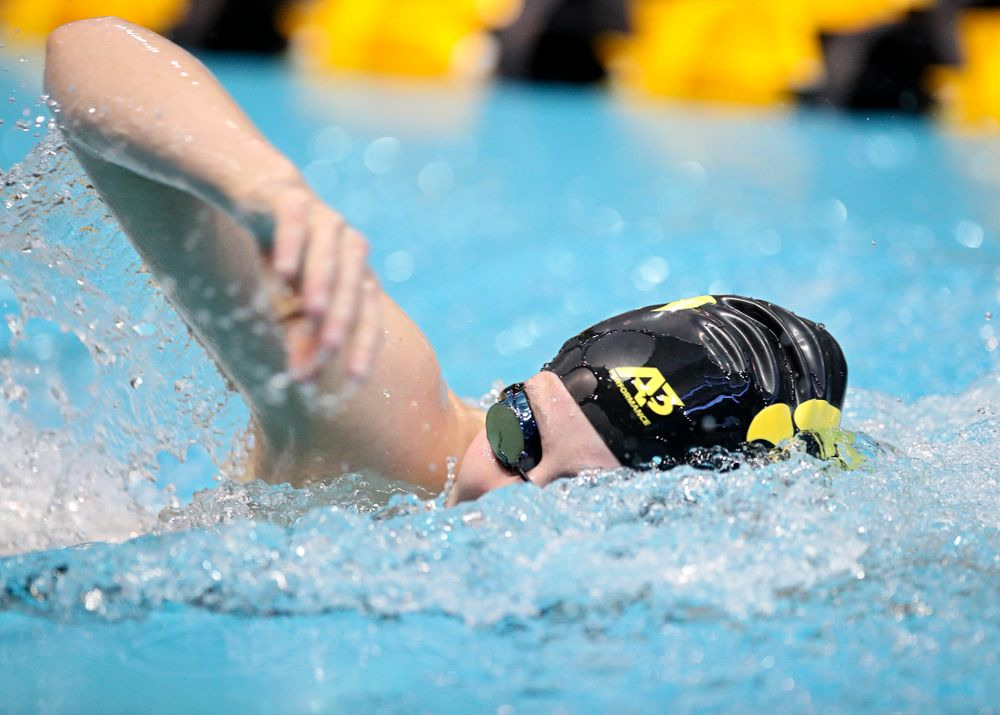 Iowa's Taylor Hartley swims the women's 500 yard freestyle preliminary event during the 2020 Women's Big Ten Swimming and Diving Championships at the Campus Recreation and Wellness Center in Iowa City on Thursday, February 20, 2020. (Stephen Mally/hawkeyesports.com)
