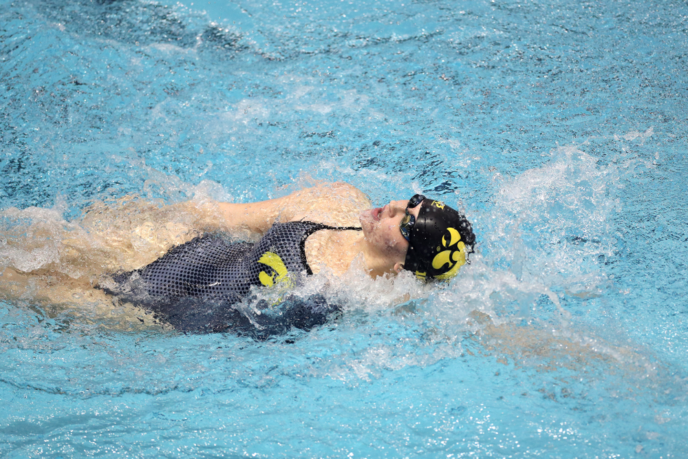 IowaÕs Erin Lang swims the 200 yard backstroke against the Michigan Wolverines Friday, November 1, 2019 at the Campus Recreation and Wellness Center. (Brian Ray/hawkeyesports.com)