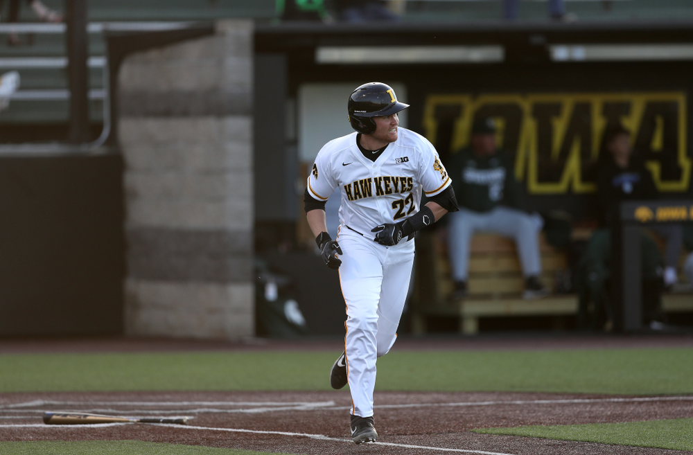 Iowa Hawkeyes Tanner Padgett (22) doubles against the Michigan State Spartans Friday, May 10, 2019 at Duane Banks Field. (Brian Ray/hawkeyesports.com)