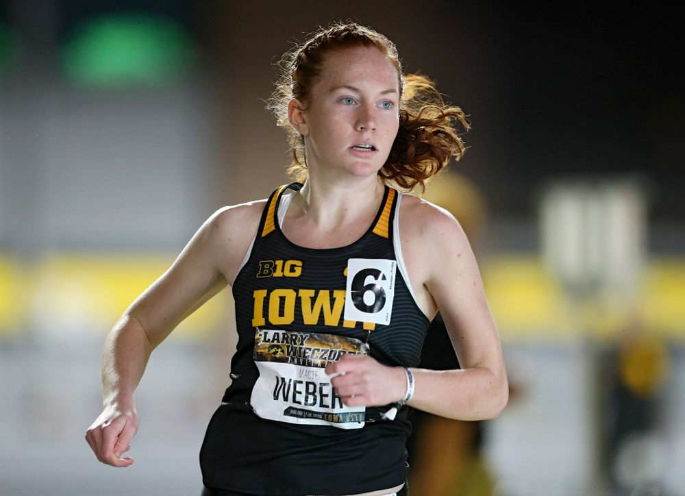 Iowa's Macie Weber runs the women's 600 meter run event during the Larry Wieczorek Invitational at the Recreation Building in Iowa City on Friday, January 17, 2020. (Stephen Mally/hawkeyesports.com)