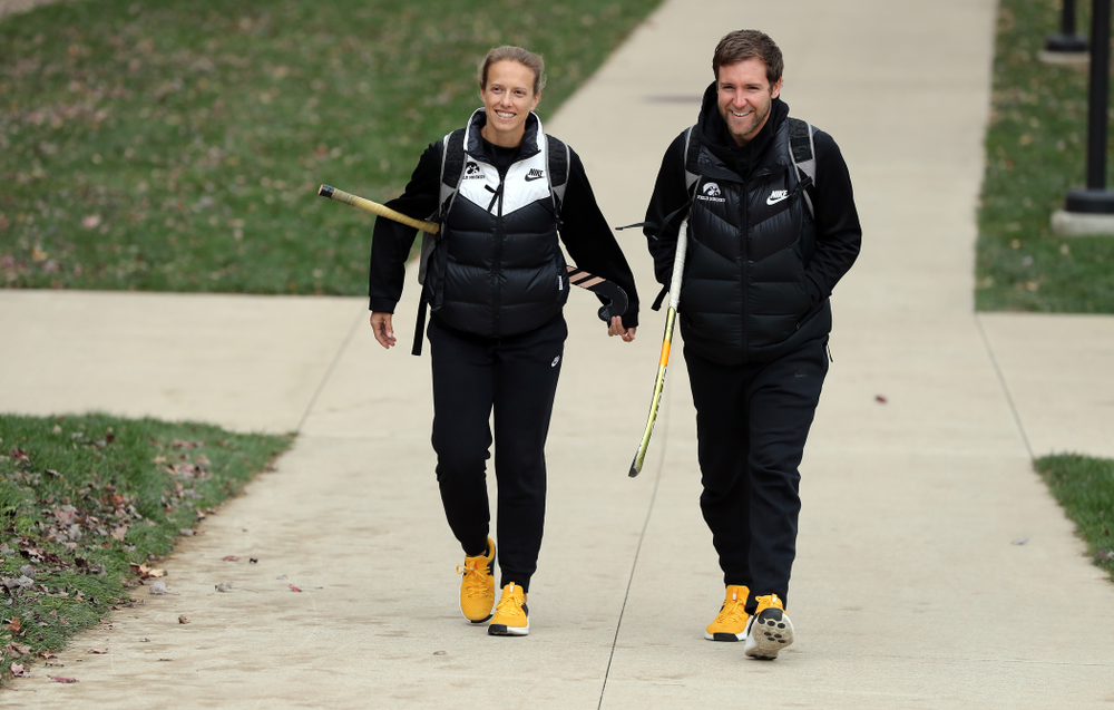 Iowa Hawkeyes assistant coach Roz Ellis and assistant coach before their game against Penn State in the 2019 Big Ten Field Hockey Tournament Championship Game Sunday, November 10, 2019 in State College. (Brian Ray/hawkeyesports.com)