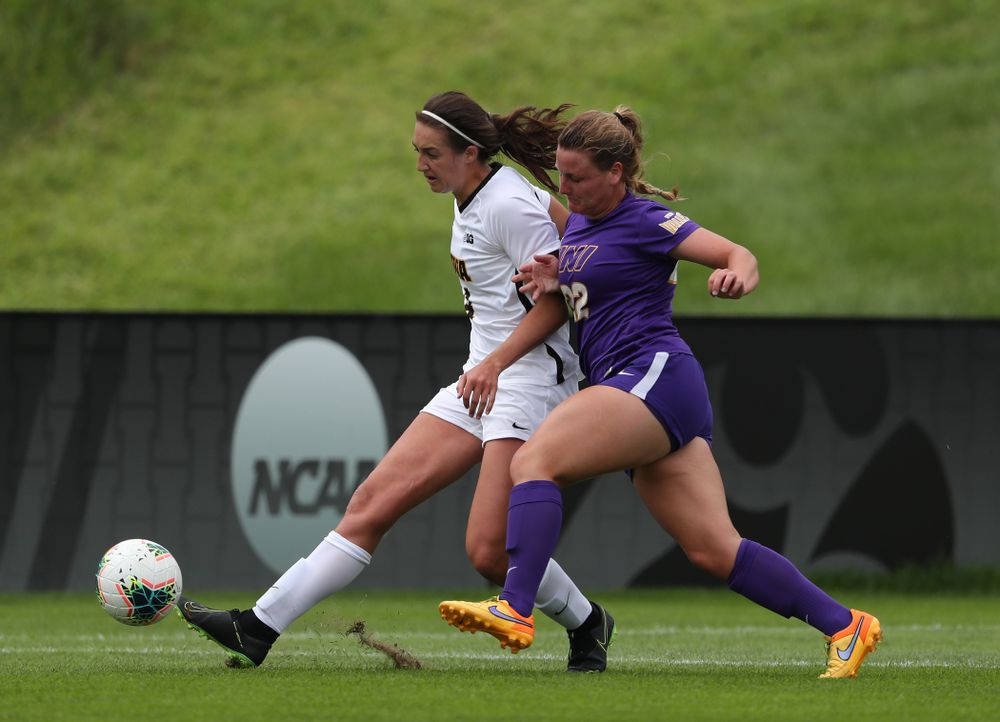 Iowa Hawkeyes forward Kaleigh Haus (4) during a 6-1 win over Northern Iowa Sunday, August 25, 2019 at the Iowa Soccer Complex. (Brian Ray/hawkeyesports.com)