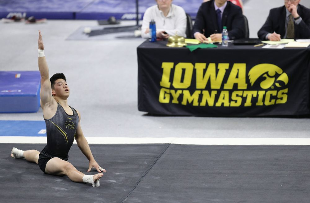 Iowa's Bennet Huang competes on the floor against Oklahoma Saturday, February 9, 2019 at Carver-Hawkeye Arena. (Brian Ray/hawkeyesports.com)