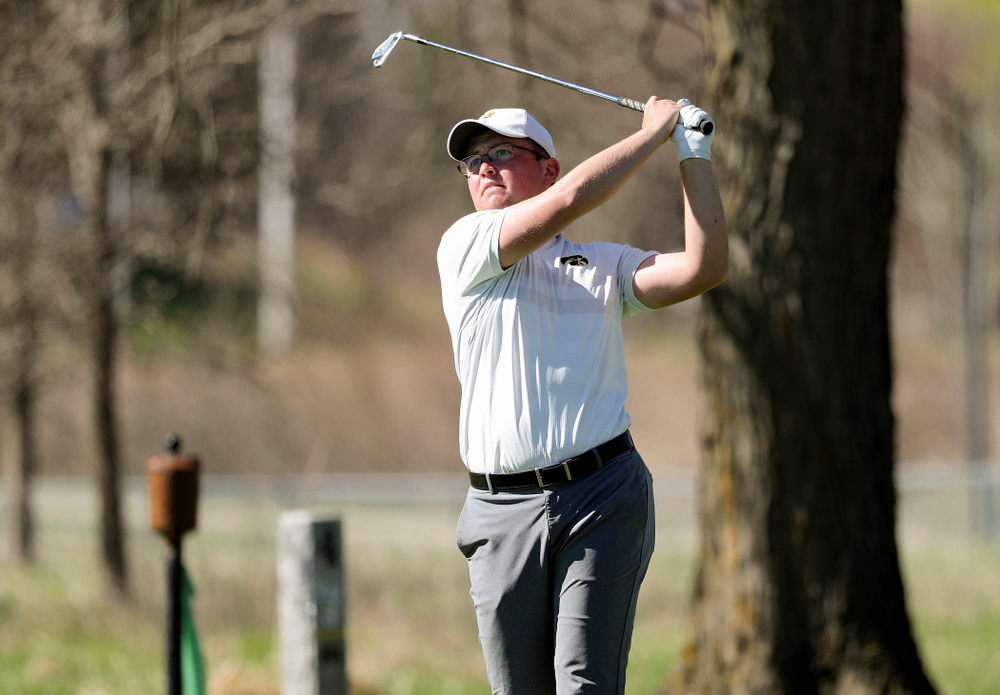 Iowa's Matthew Walker tees off during the first round of the Hawkeye Invitational at Finkbine Golf Course in Iowa City on Saturday, Apr. 20, 2019. (Stephen Mally/hawkeyesports.com)
