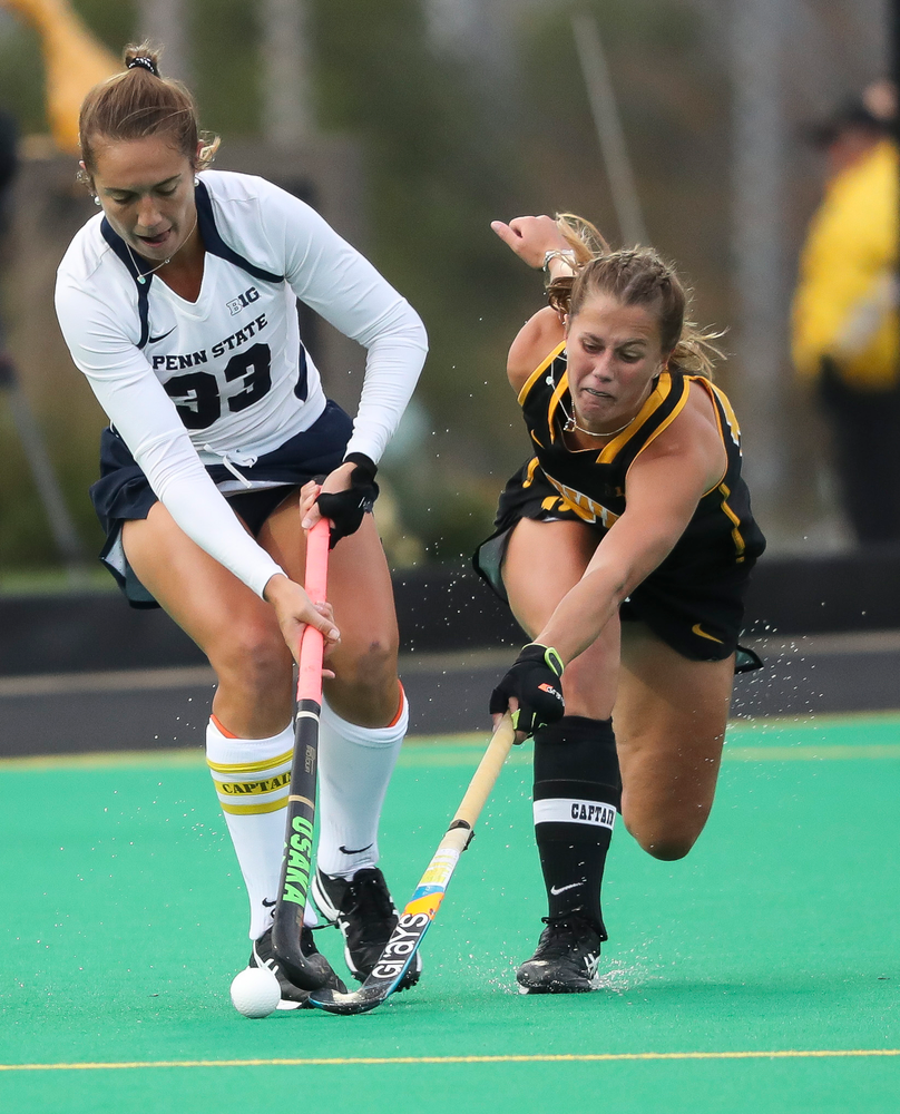 Iowa Hawkeyes midfielder Sophie Sunderland (20) defends during a game against No. 6 Penn State at Grant Field on October 12, 2018. (Tork Mason/hawkeyesports.com)