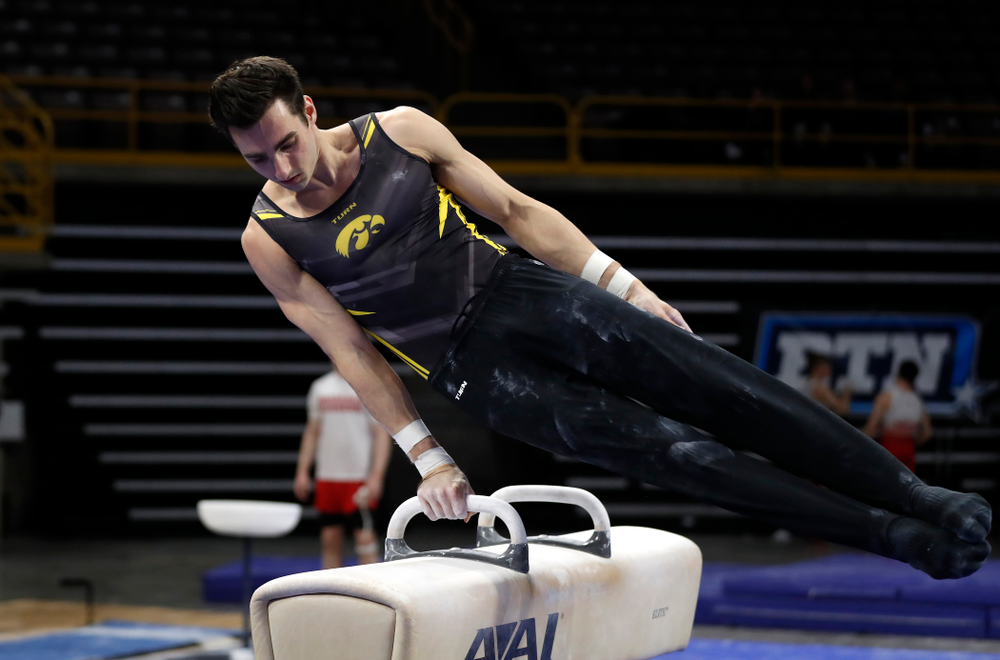 Iowa's Austin Hodges competes on the pommel horse