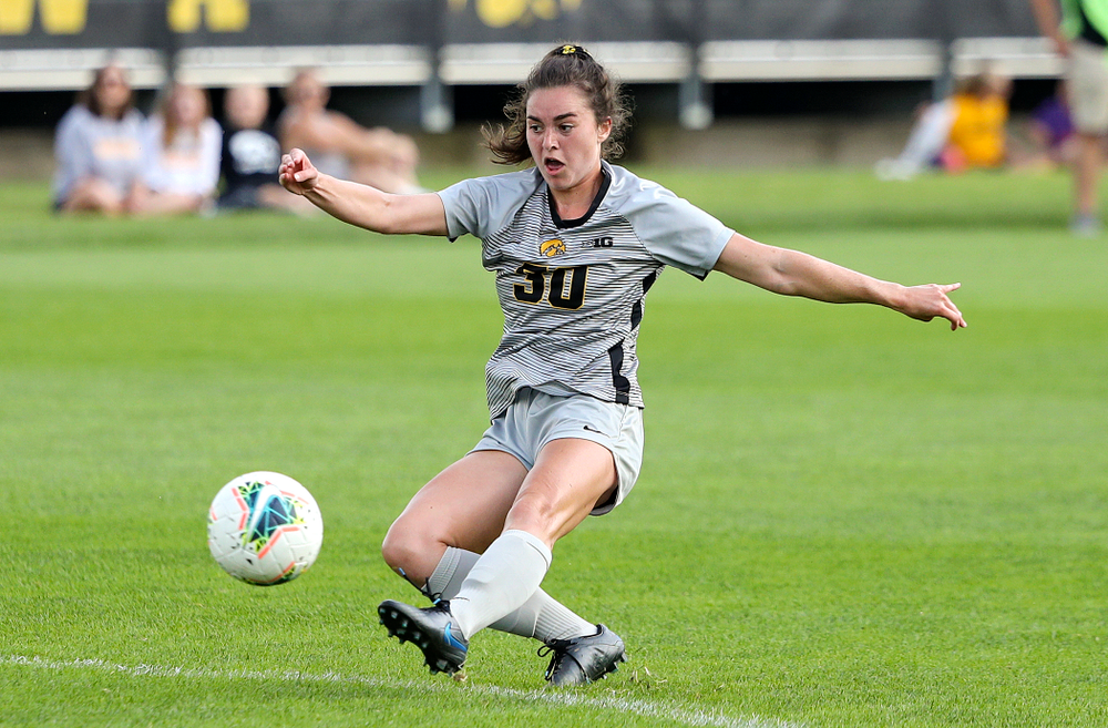 Iowa forward Devin Burns (30) scores a goal during the first half of their match at the Iowa Soccer Complex in Iowa City on Sunday, Sep 1, 2019. (Stephen Mally/hawkeyesports.com)